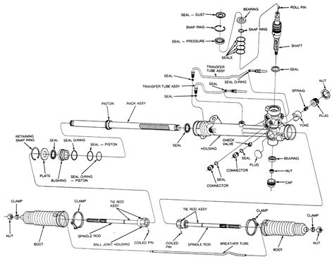 toyota rack pinion diagram   exploded view