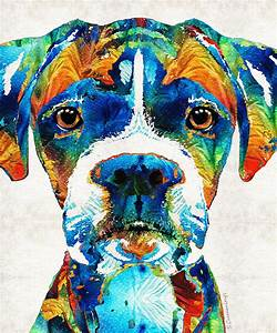 Colorful Boxer Dog Art By Sharon Cummings Painting by