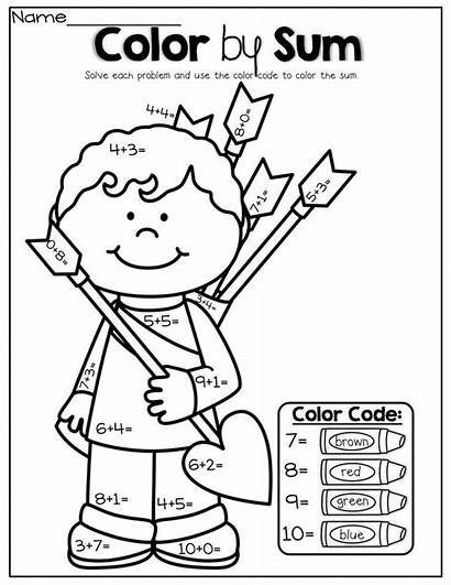 Sum Coloring Kindergarten Addition Valentine Math Simple