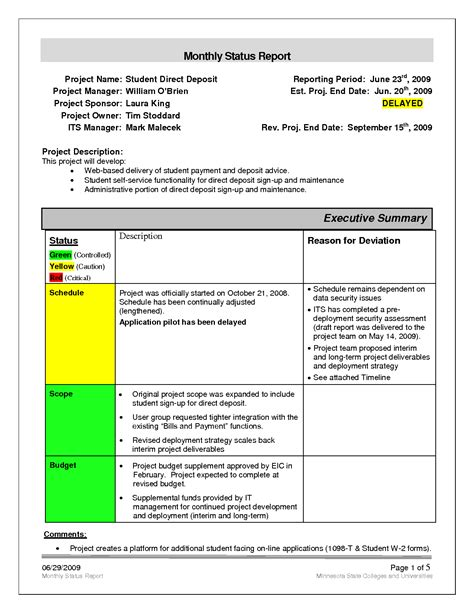 monthly status report template weekly
