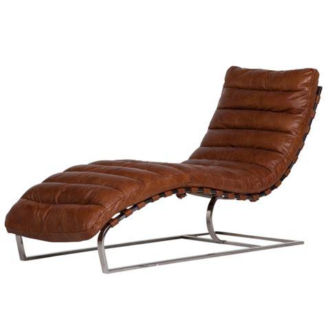 chaise longue cuir chaise longue cuir vintage brun et métal chromé