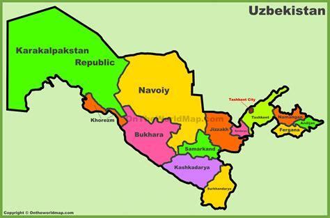administrative divisions map  uzbekistan