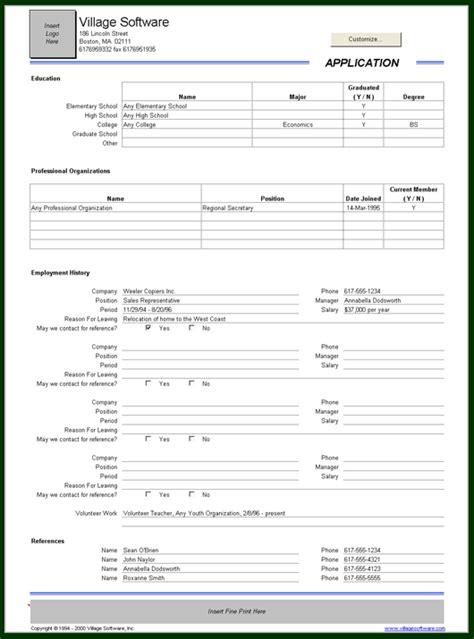 employment information sheet job application record template employment application