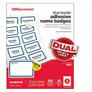 office depot brand name badge labels 2 13 x 3 38 blue With does office depot print stickers