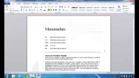 create  memo  microsoft word  youtube