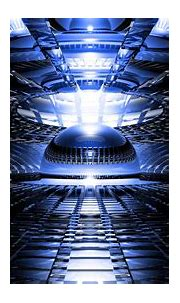 Abstract 3d cg digital art chrome shine bright blue light ...