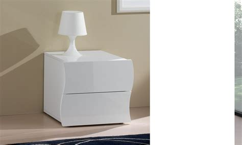 chambre d adulte moderne table de chevet 2 tiroirs blanc laqué design swell