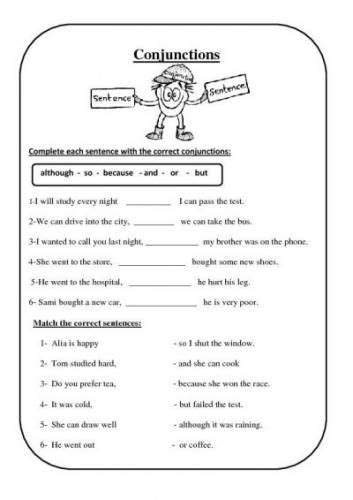 free conjunction worksheets tales of the 4th grade