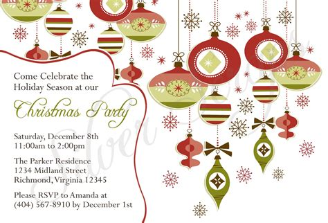 christmas holiday party and dinner invitation card design