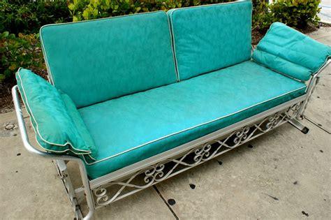 vintage 1950s aqua vinyl aluminum patio glider sofa