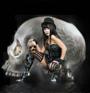 Dark Gothic Art Girls with Skulls
