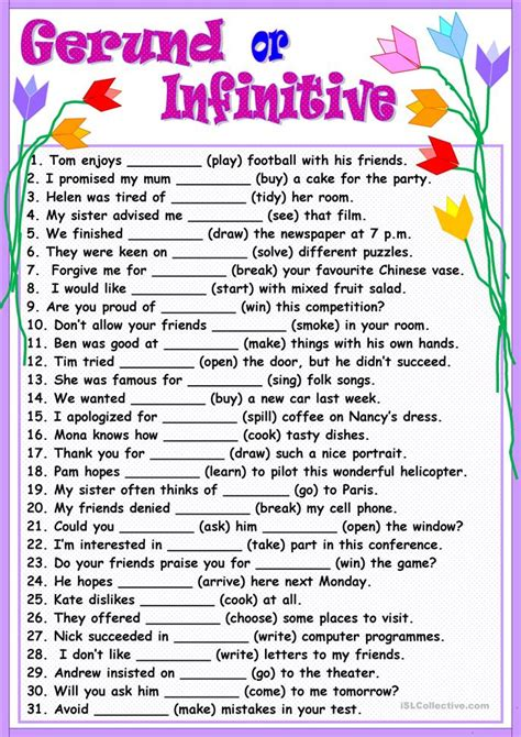 Gerund Or Infinitive Worksheet  Free Esl Printable Worksheets Made By Teachers