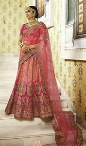 Pink Tone Bridal Silk Lehenga With Heavy Embroidery  Dark Pink Choli And Heavy Bordered Dupatta