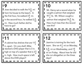 mixed numbers word problem task cards add  subtract