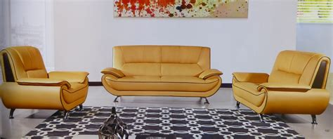 Yellow Leather Sofa Set by Tratto Genuine Yellow Brown Leather Modern Sofa Set
