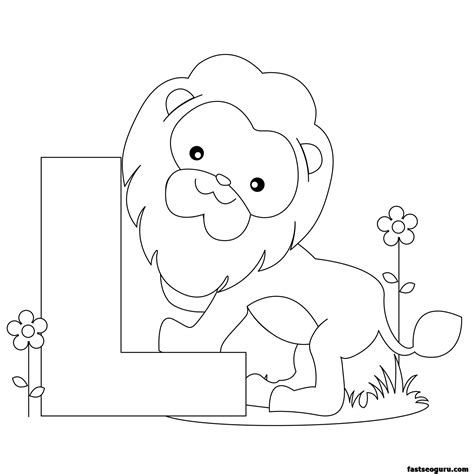 Free Coloring Worksheets by Printable Animal Alphabet Worksheets Letter L Is For