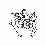 Watering Coloring Flower Garden Flowers Stamp Rubber Zazzle Quadro Quilling Momo Paper Regadera Spring Colorir Flores Embroidery Acessar Patterns Visit sketch template