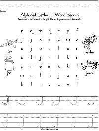 letter j word search for preschool kindergarten and early 762 | j