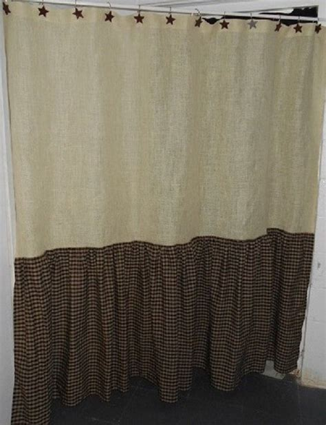 primitive country kitchen curtains ruffled burlap and homespun shower curtain creations 4414