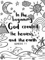 Genesis Coloring Bible Verse Colouring Heaven Crafts Christian Activities sketch template