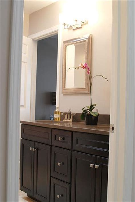 brown painted cabinets contemporary bathroom
