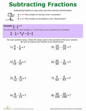 5th grade math worksheet subtracting fractions how to subtract fractions worksheet education
