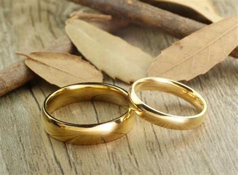 handmade gold dome plain matching wedding bands rings