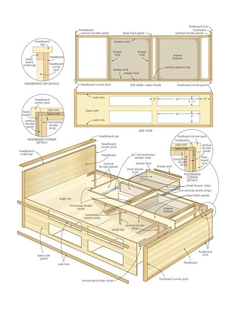 bed plans storage  woodworking