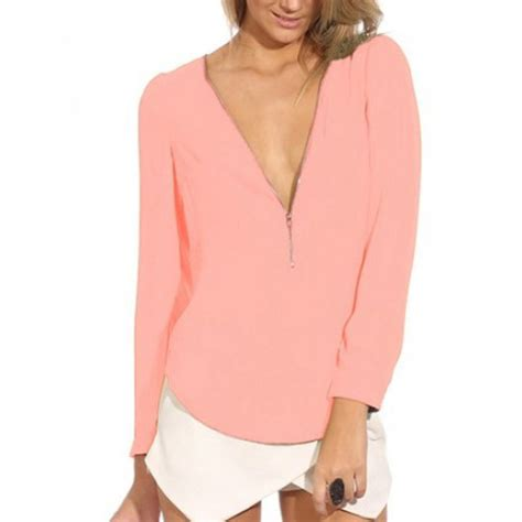 s sleeve blouses 2016 fashion autumn v neck sleeve zipper chiffon