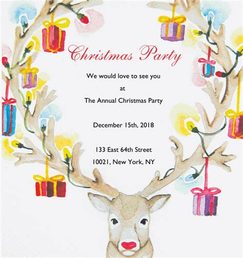 rudolphs animated antlers christmas party invitations