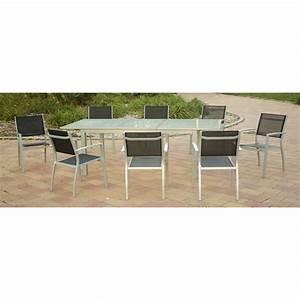 Table De Jardin Extensible Aluminium : ensemble table de jardin extensible et 8 chaises en aluminium gris ~ Melissatoandfro.com Idées de Décoration