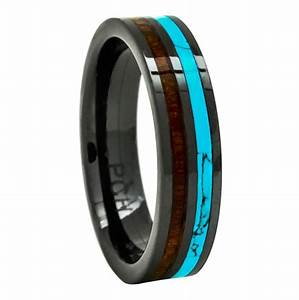 men39s women39s wedding rings black ceramic band koa wood With turquoise wedding rings for women
