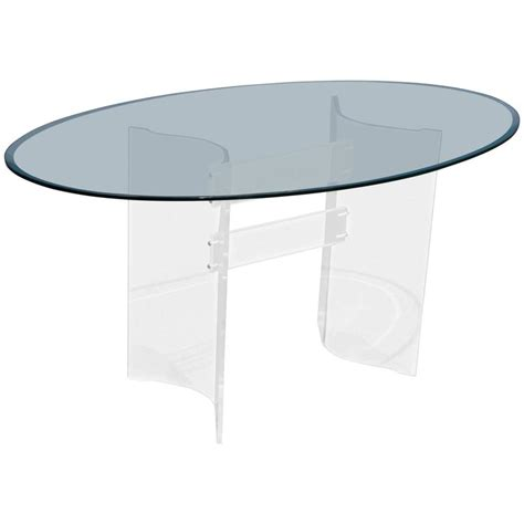 mid century glass dining table mid century modern transparent lucite and glass oval