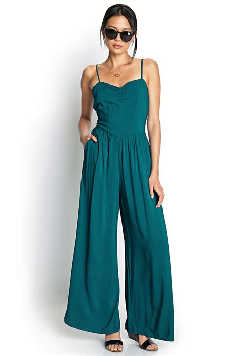 wide leg romper jumpsuit forever 21 wide leg jumpsuit in green turquoise lyst