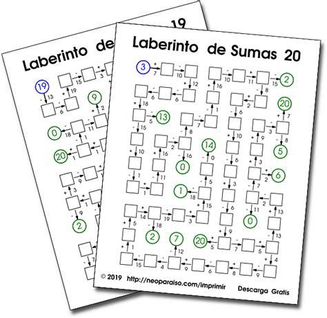 ¿quieres estar al día de todas las novedades de cerebriti? Laberintos Matemáticos. Juegos Matemáticos de Repaso ...