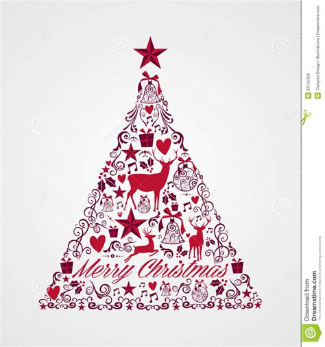 merry christmas tree shape full of elements compos stock vector image 33756428
