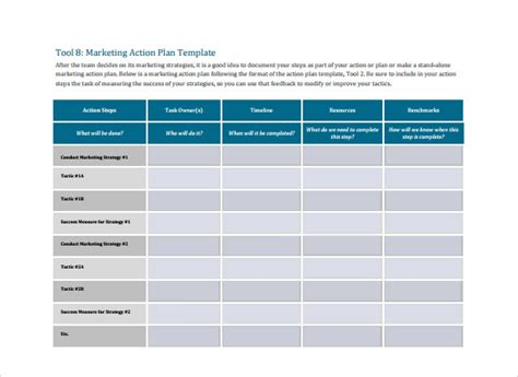 marketing action plan template   documents