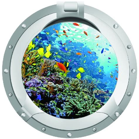 coral reef porthole wall sticker
