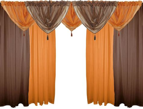 "Brown & Orange 9 Piece Voile Set 48"" 122cm Rod Pocket"