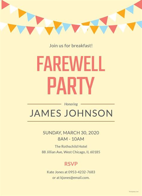 farewell breakfast party invitation  images