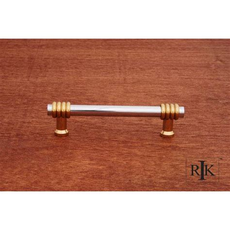 two tone cabinet hardware chrome and brass two tone swirl pull rk international inc