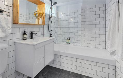 grey subway tile bathroom amazing tile