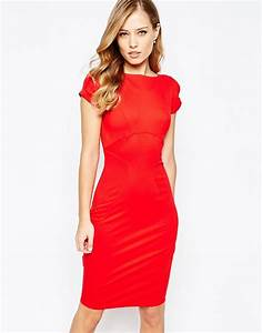 lyst closet closet pencil dress with ruched cap sleeve With robe droite rouge