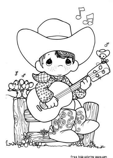 precious moments boy playing guitar cowboy coloring pagesfree printable coloring pages  kids