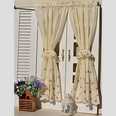 French Country Floral Embroidered Cafe Kitchen Curtain 006