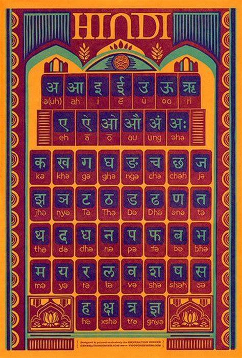 hindi alphabet letterpress poster etsy   hindi