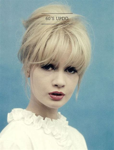 60s Bangs Hairstyles by 60s Style Updo With Bangs And Heavy Eyeliner That