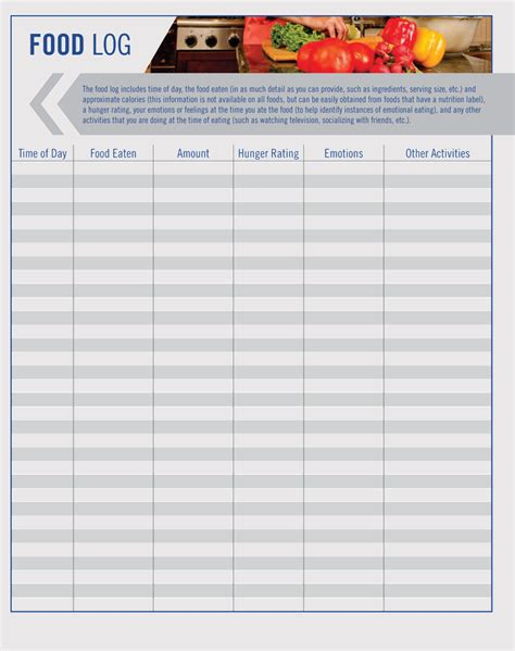 food log sheet templates track  diet  word