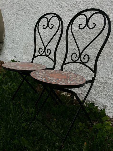 mosaiktisch mit stühlen mosaiktisch kaffeetisch coffeetable mit eisenfu 223 und 2 st 252 hle antik m 246 bel antiquit 228 ten