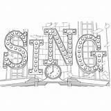 Sing Coloring Movie Pages Theater Para Colorir Filme Desenhos Sheet Sign Colouring Sheets Printable Title Books Movies Film Lighted Voor sketch template